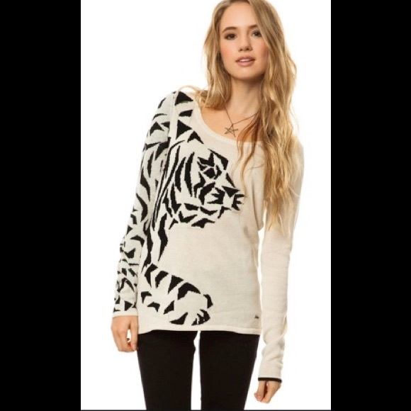 Volcom The Chill Pill Tiger Pullover Sweater Large
